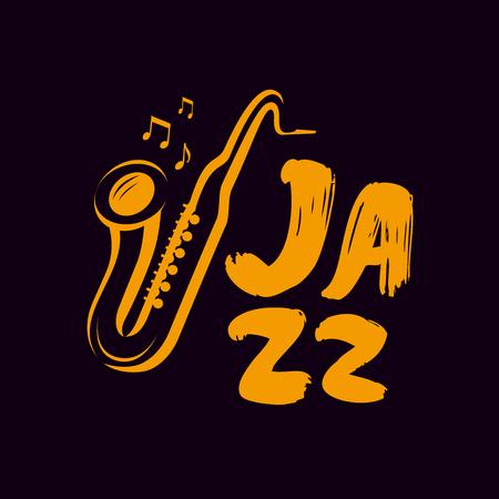Jazz logo or label. Live music, saxophone, blues symbol.