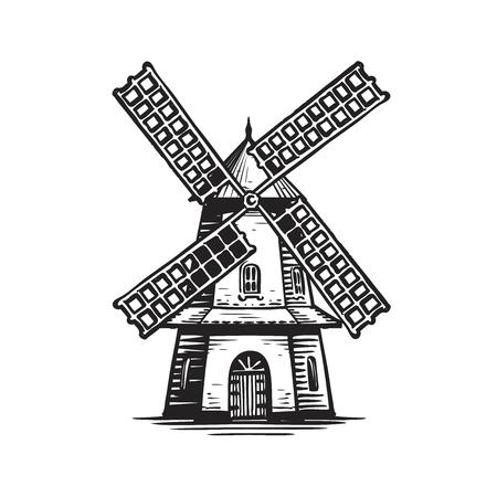 Alte hölzerne Windmühle, Skizze. Landwirtschaft, Landwirtschaft, Bäckereilogo oder Etikett.