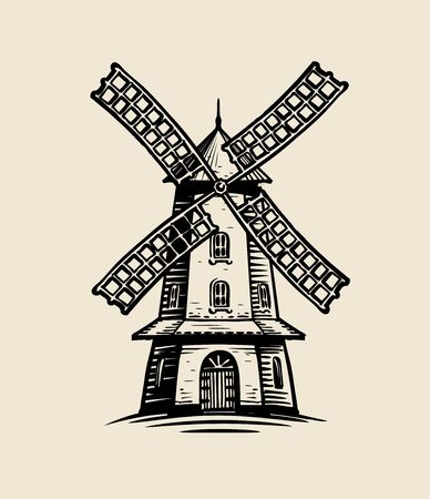 Windmill logo or label. Agriculture, farm, bakery sketch. Reklamní fotografie - 117335585