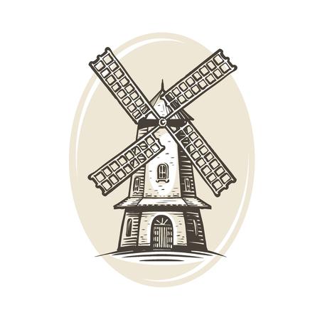 Logo o etichetta del mulino a vento. Fattoria, agricoltura, panetteria, icona del pane.