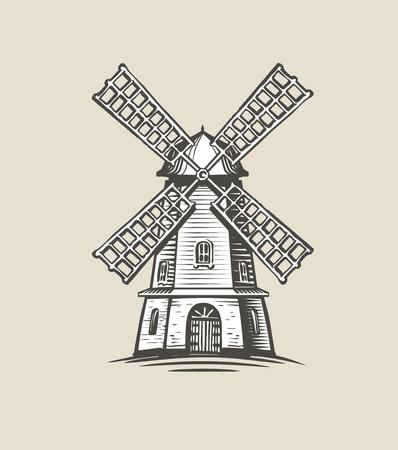 Windmill, mill logo or label. Farm, agriculture symbol. Reklamní fotografie - 117335588