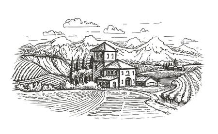 paysage rural dessiné à la main. ferme, vignoble, agriculture croquis vector illustration Vecteurs