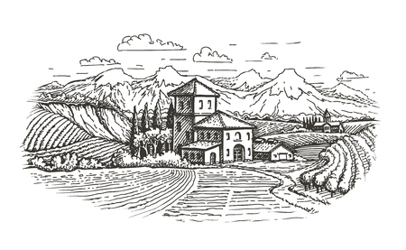 hand drawn rural landscape. farm, vineyard, agriculture sketch vector illustration