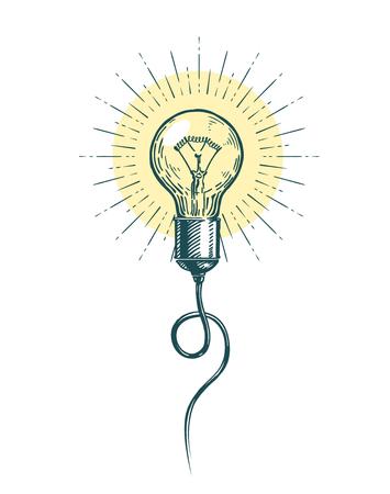 light bulb idea. innovation, brainstorm concept sketch vector