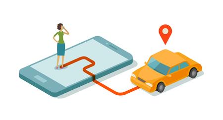 Taxi service for mobile internet app. Ilustrace