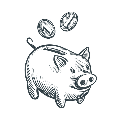Piggy bank and coins, sketch. Moneybox, business concept. Hand drawn vector Illustration