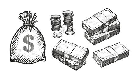 Money concept. Business, banking, finance sketch.