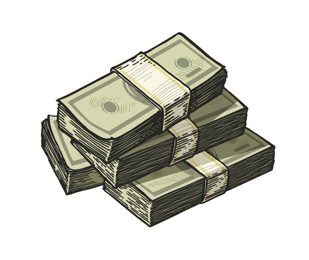 much money, wads of cash. earnings, finance dollars vector