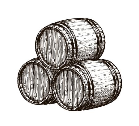 Wooden wine barrels Ilustrace