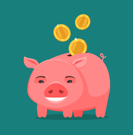 Funny piggy bank and coins. Business, banking concept. Cartoon vector