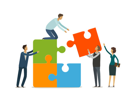 Teamwork concept. Business people with puzzle pieces working together. Infographics