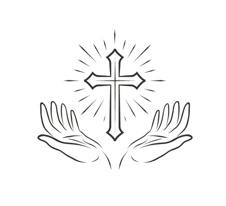 Hands and cross 矢量图像