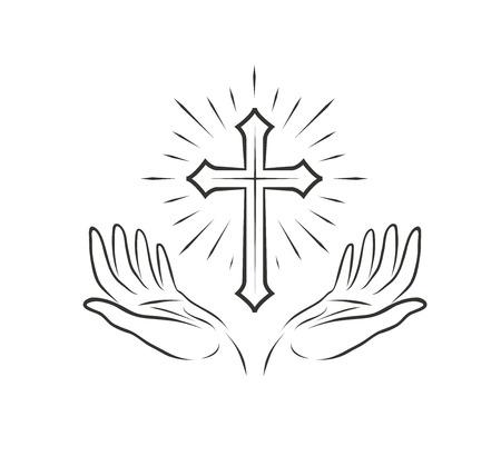 Manos y cruz