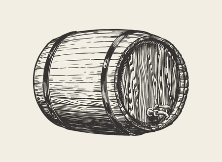 Wooden oak barrel. Wine, whisky, pub sketch. Hand drawn vintage vector Illustration