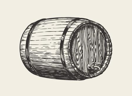 Wooden oak barrel. Wine, whisky, pub sketch. Hand drawn vintage vector Ilustração