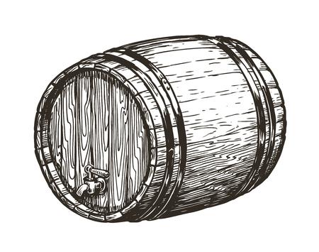 Hand drawn Wooden oak barrel. Wine, whisky, beer sketch. vintage vector illustration isolated on white background Ilustração