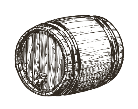 Hand drawn Wooden oak barrel. Wine, whisky, beer sketch. vintage vector illustration isolated on white background Illustration