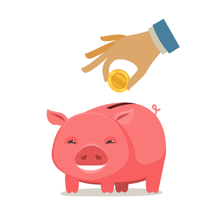 Piggy bank and hand with coin. save money, banking concept. cartoon vector