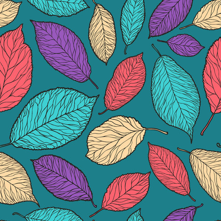 Seamless background. Decorative leaves pattern. Vector illustration