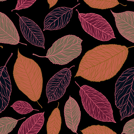 Decorative leaves pattern. Seamless background. Vintage vector