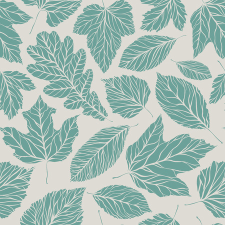 Seamless background. Decorative leaves pattern. Vintage vector