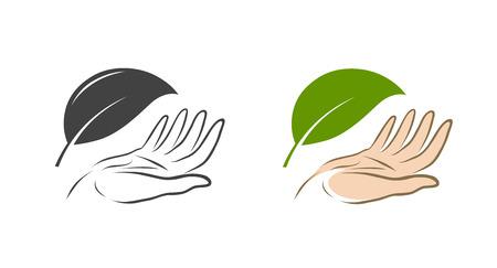 Ecology, nature protection icon or symbol. Ilustracje wektorowe