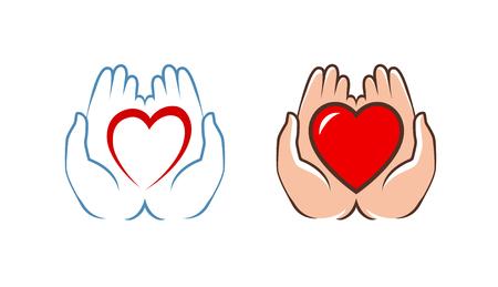 Corazón en manos en blanco