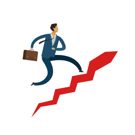 Businessman running up stairway. career ladder, success concept. business vector