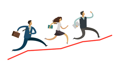 business people run up the arrow. career, success concept. infographics vector illustration isolated on white background