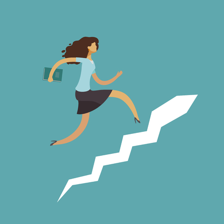 Businessman running up stairway. Career ladder, success concept. Business vector illustration Illustration