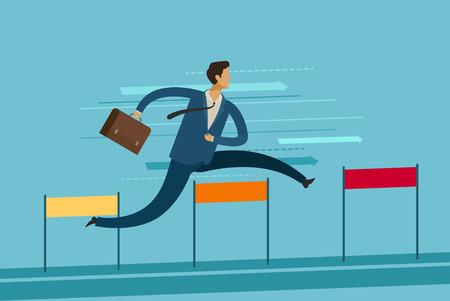 Businessman jumping over hurdle. goal achievement business concept.