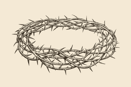 Crown of thorns, sketch Hand drawn vintage 向量圖像