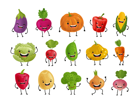 Set of funny vegetables. Fresh food concept. Cartoon vector illustration isolated on white background