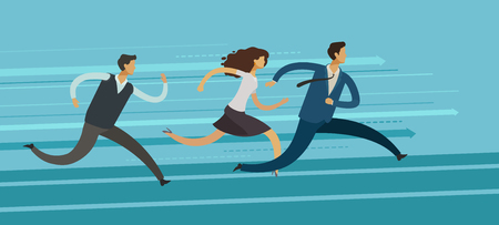 business people run. competition, rivalry, goal achievement concept. infographics vector illustration