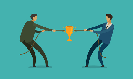people pulling opposite ends of rope. competition, rivalry concept. business vector illustration