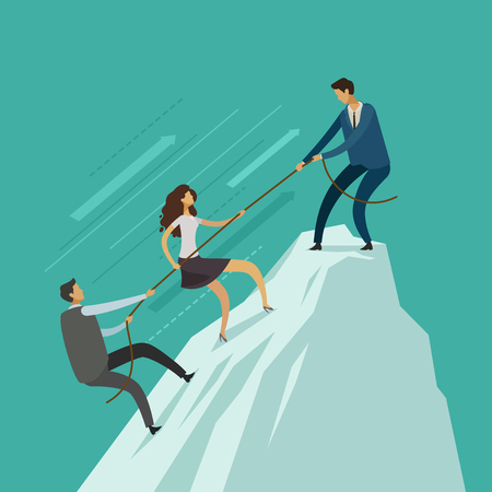 business people is helping each other to the top of mountain. teamwork concept. vector illustration