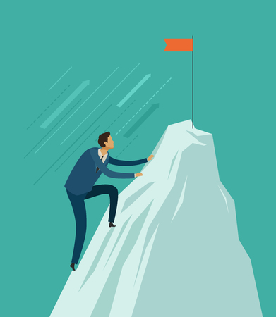 businessman climb to the top of the mountain. achieving goal, business concept. vector