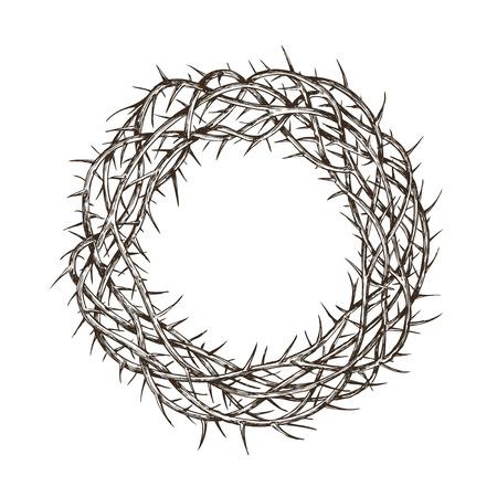 Corona di spine, schizzo disegnato a mano vintage