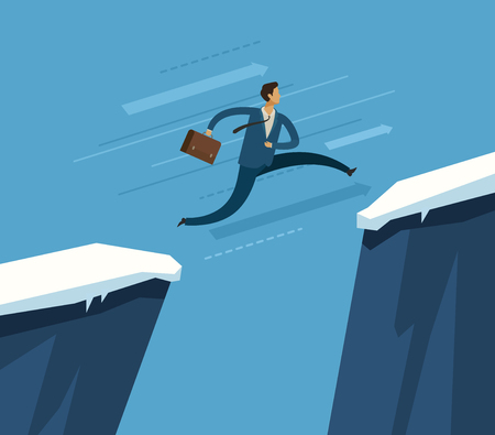Businessman jumping over chasm.