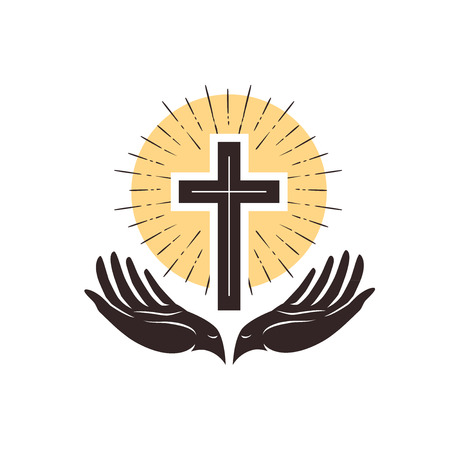 Cross and hands, christian symbol.