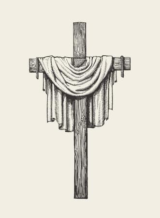 Crucifijo, cruz y sudario dibujado a mano. Ilustración de vector