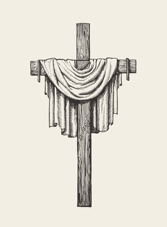 Kruzifix, Kreuz und Leichentuch handgezeichnet Vektorgrafik