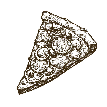 Hand drawn slice of pizza. Food, Italian menu.  イラスト・ベクター素材