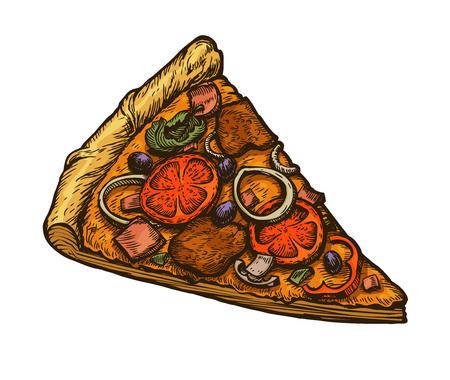 Sliced piece of italian pizza.