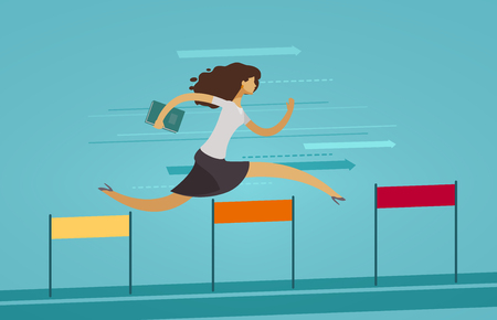Businesswoman runs on obstacle course.