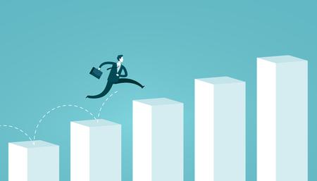 Businessman jumping on chart columns.