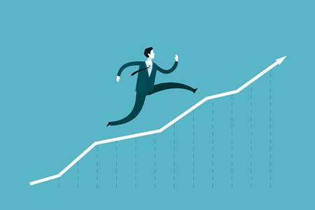 Businessman runs up the arrow. Career success, business concept.