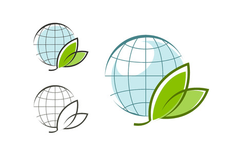 Globe with green leaves, Eco, natural, organic icon or symbol.