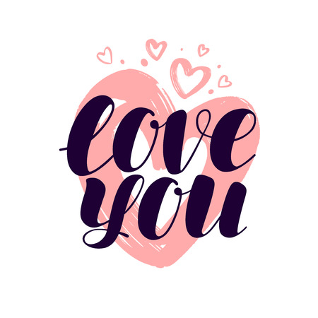 love you, hand lettering. valentine, calligraphy vector illustration isolated on white background Ilustrace