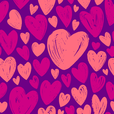 Hearts, seamless background. Love hand drawn vector illustration
